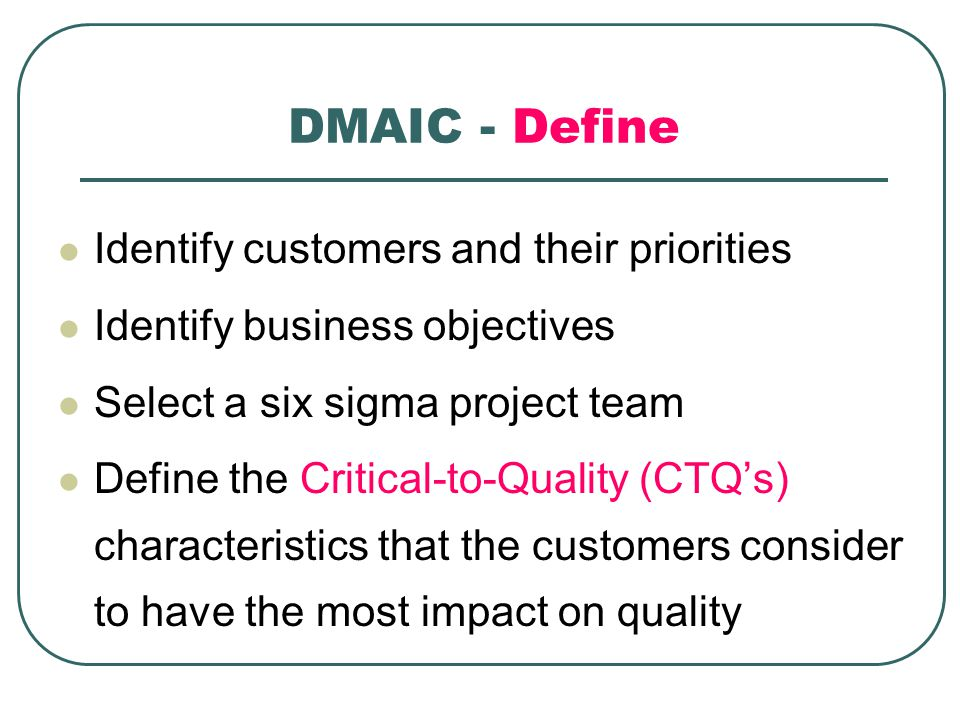 DMAIC - Define Identify customers and their priorities