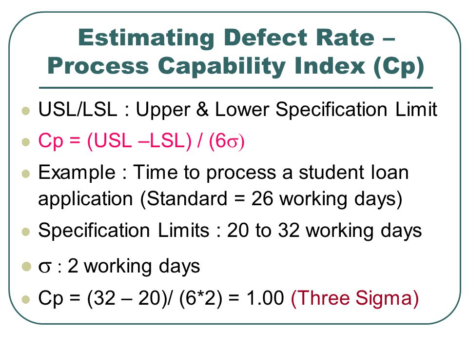 Estimating Defect Rate – Process Capability Index (Cp)