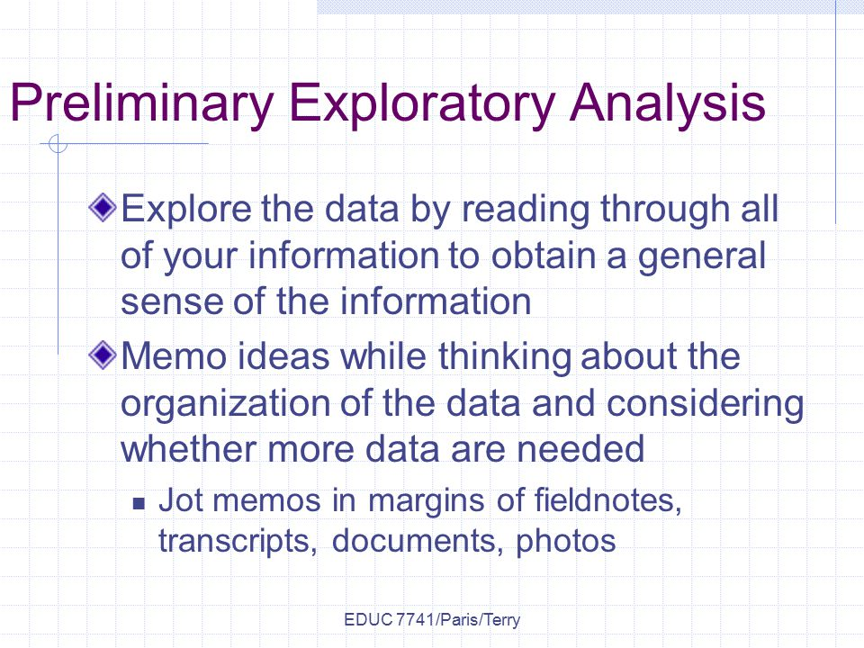 exploratory research qualitative analysis Chapter 4 exploratory data analysis a rst look at the data as mentioned in chapter 1, exploratory data analysis or \eda is a critical rst.