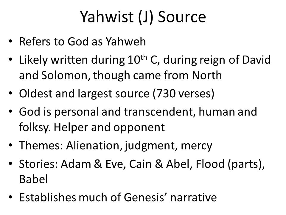 creation story yahwist and priestly account Each belief system has a story of how the world was created and  two accounts of creation in  the first creation account describes how god created the world.