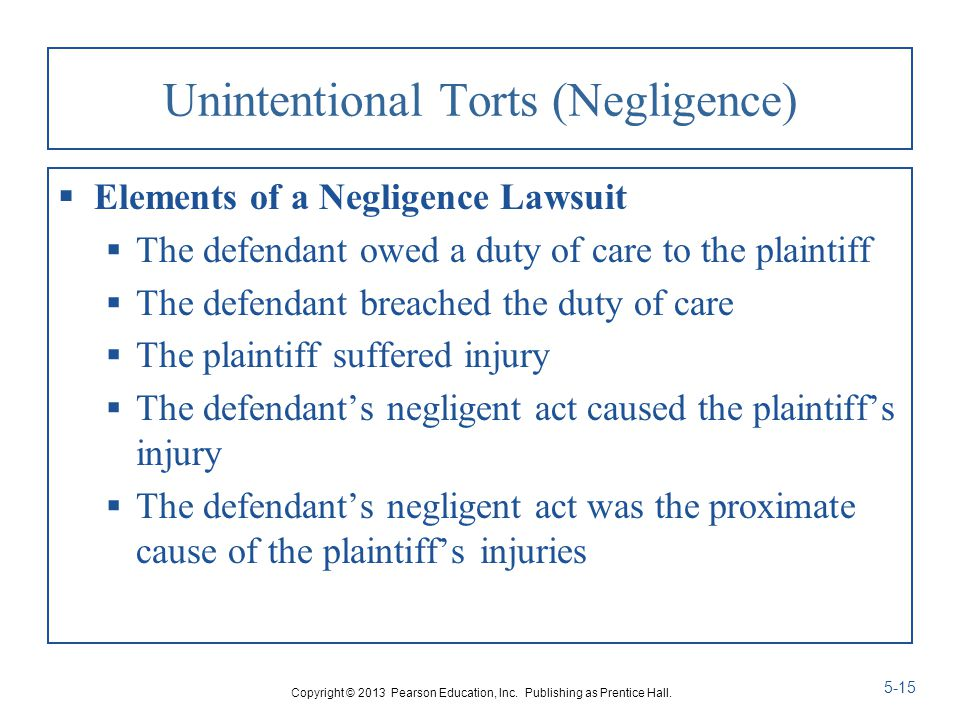 elements of the tort of negligence This article addresses each of the key elements in turn, but we begin with an explanation of why tort developed acca - think ahead it's the tort of negligence.