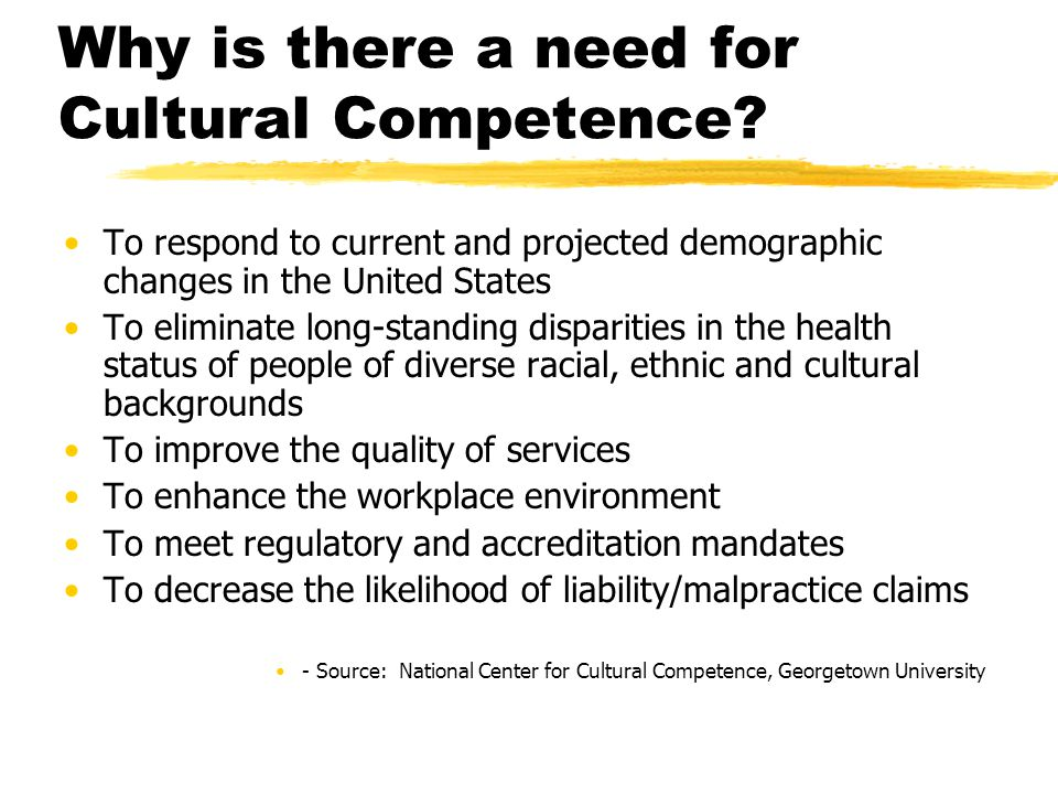 cultural competency in health service management Cultural competence is the integration and transformation of knowledge about individuals and groups of people into specific standards, policies, practices, and attitudes used in appropriate cultural settings to increase the quality of services thereby producing better outcomes.
