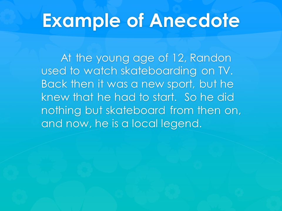 Examples of anecdotes in essays