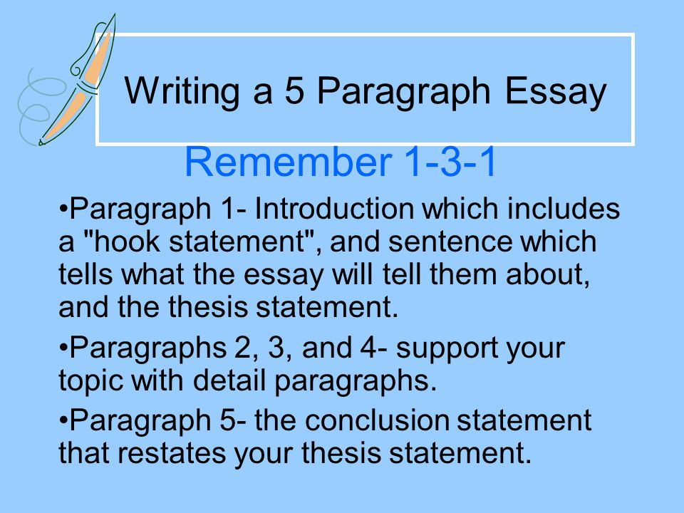 5 paragraph essay on reconstruction A guide to basic paragraph construction for use in english as a  paragraph writing share  here is a paragraph taken from an essay on various strategies.