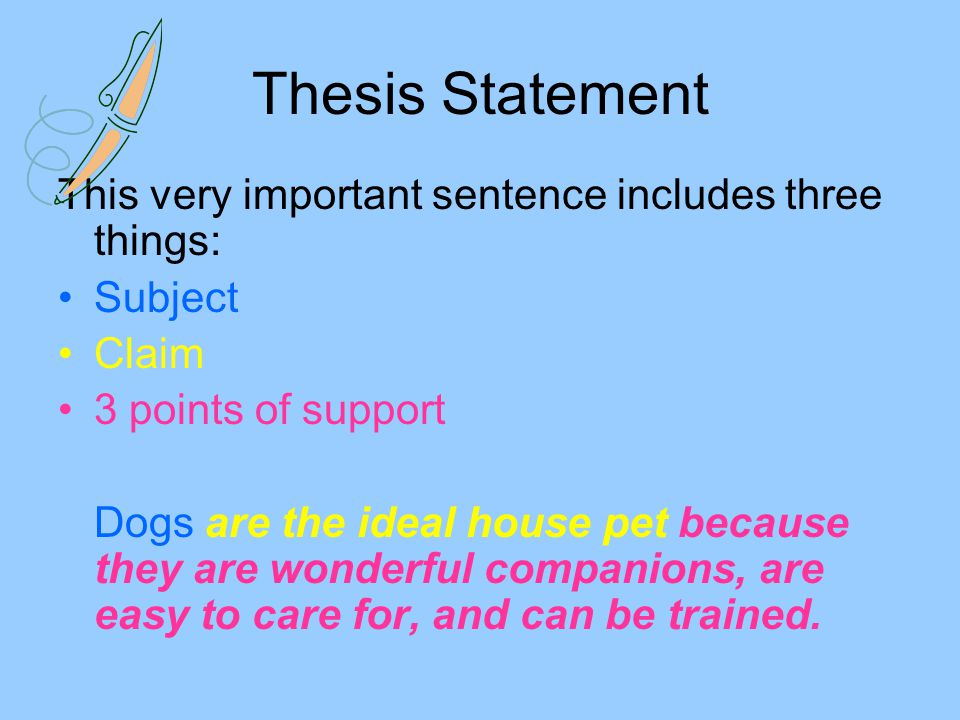Thesis Statement This very important sentence includes three things:
