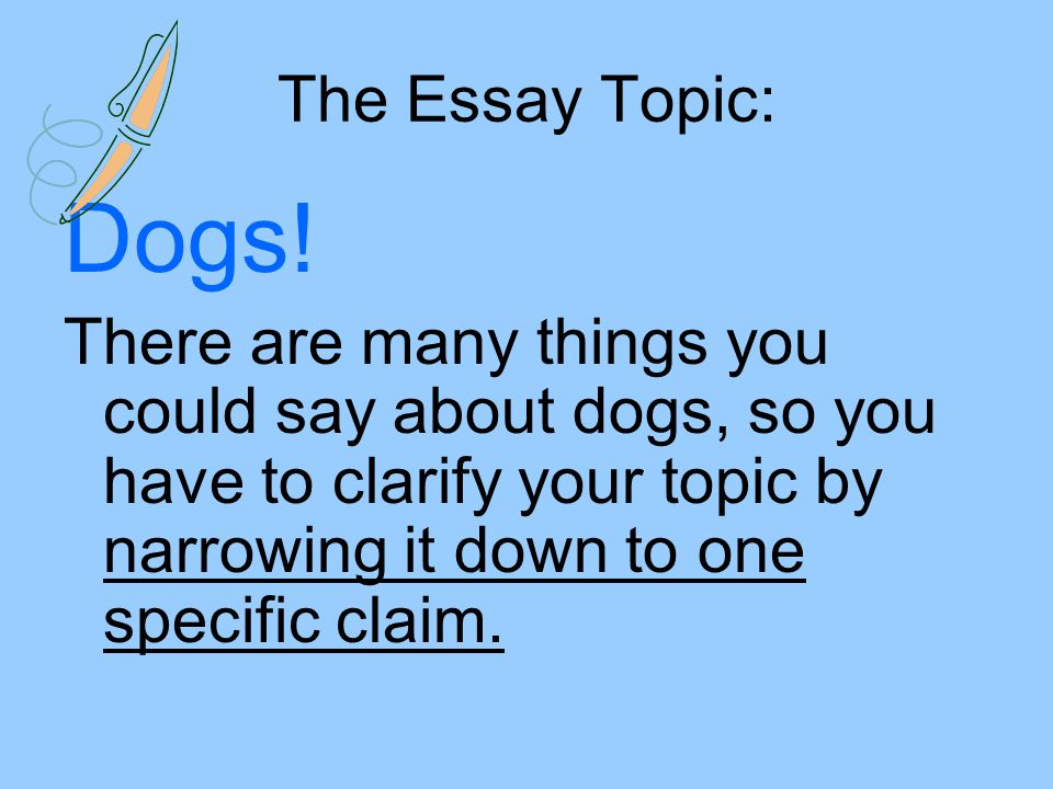The Essay Topic: Dogs.