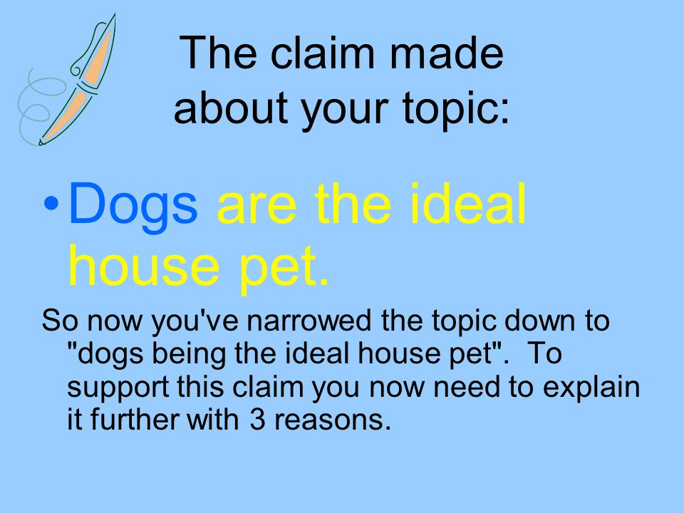 The claim made about your topic: