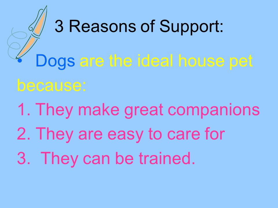 3 Reasons of Support: Dogs are the ideal house pet. because: They make great companions. 2. They are easy to care for.