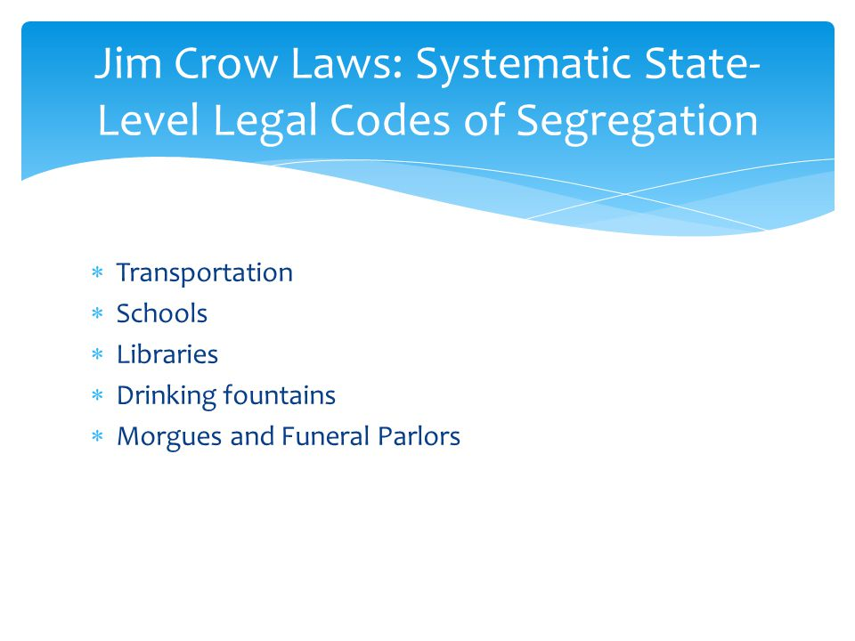 Jim Crow Laws: Systematic State-Level Legal Codes of Segregation