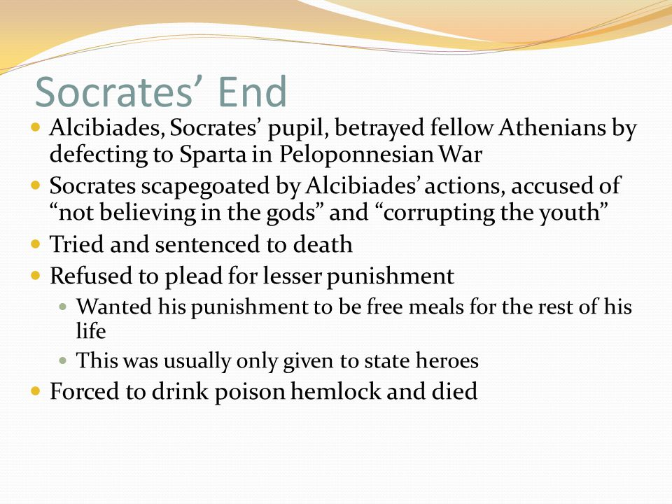 socrates and his choice of suicide On a day in 399 bc the philosopher socrates stood before a jury of 500 of his fellow athenians accused of refusing to recognize the gods recognized by the state and of corrupting the youth if found guilty his penalty could be death the trial took place in the heart of the city, the jurors.