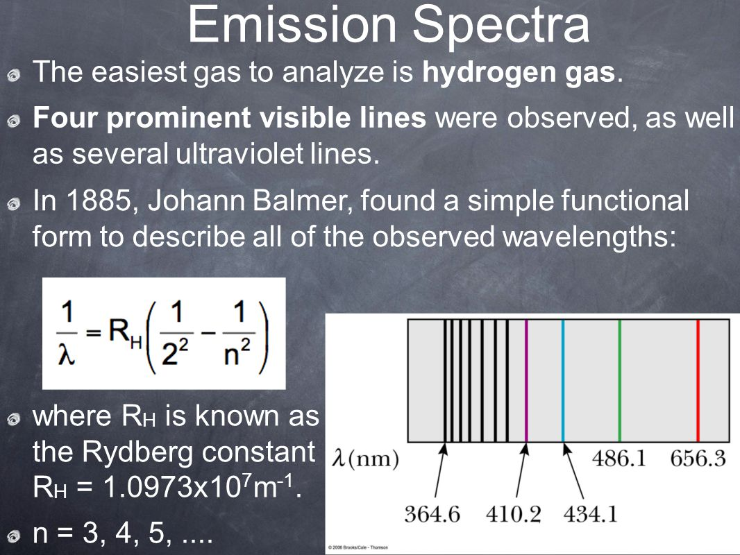 Emission Spectra The easiest gas to analyze is hydrogen gas.