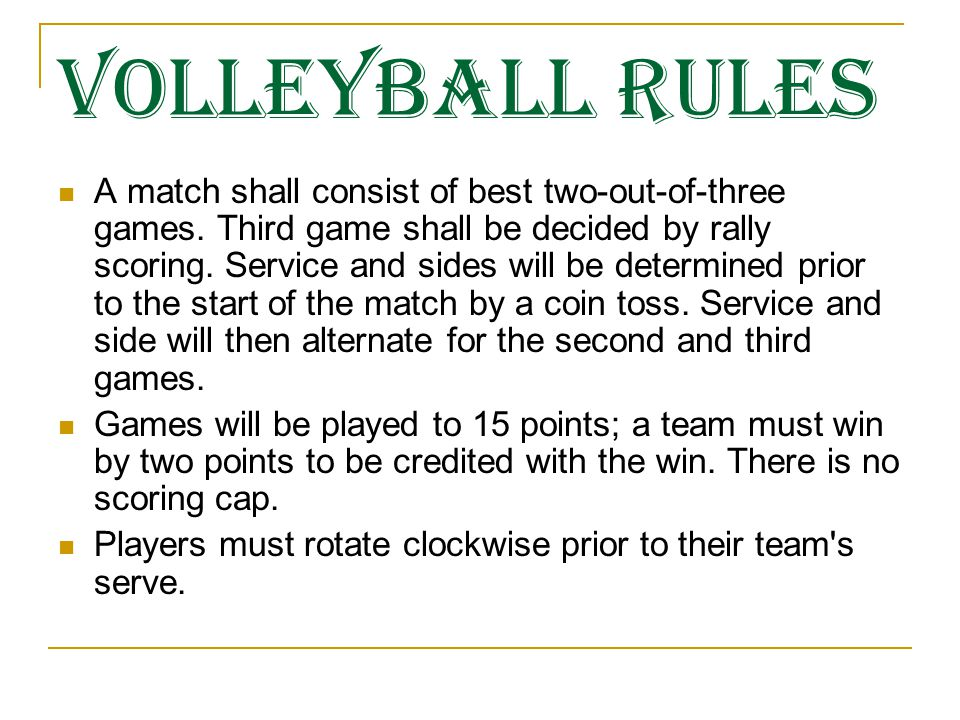 volleyball rules Table of contents sports rules: article 1 returning teams article 26 adult volleyball article 27 youth volleyball article 28 sand volleyball.