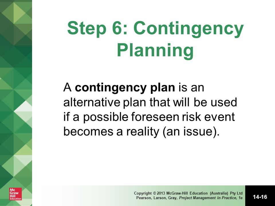 how to write a contingency plan for an event