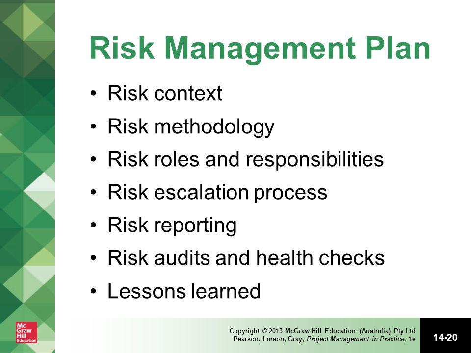 Risk Management Plan Risk context Risk methodology