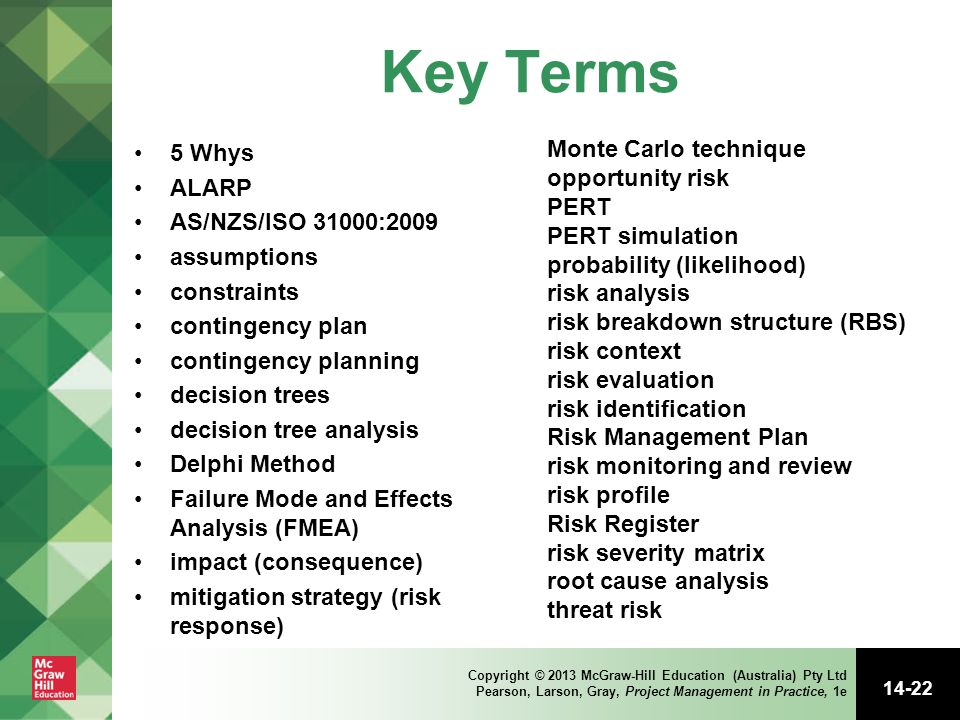 Key Terms Monte Carlo technique 5 Whys opportunity risk ALARP PERT