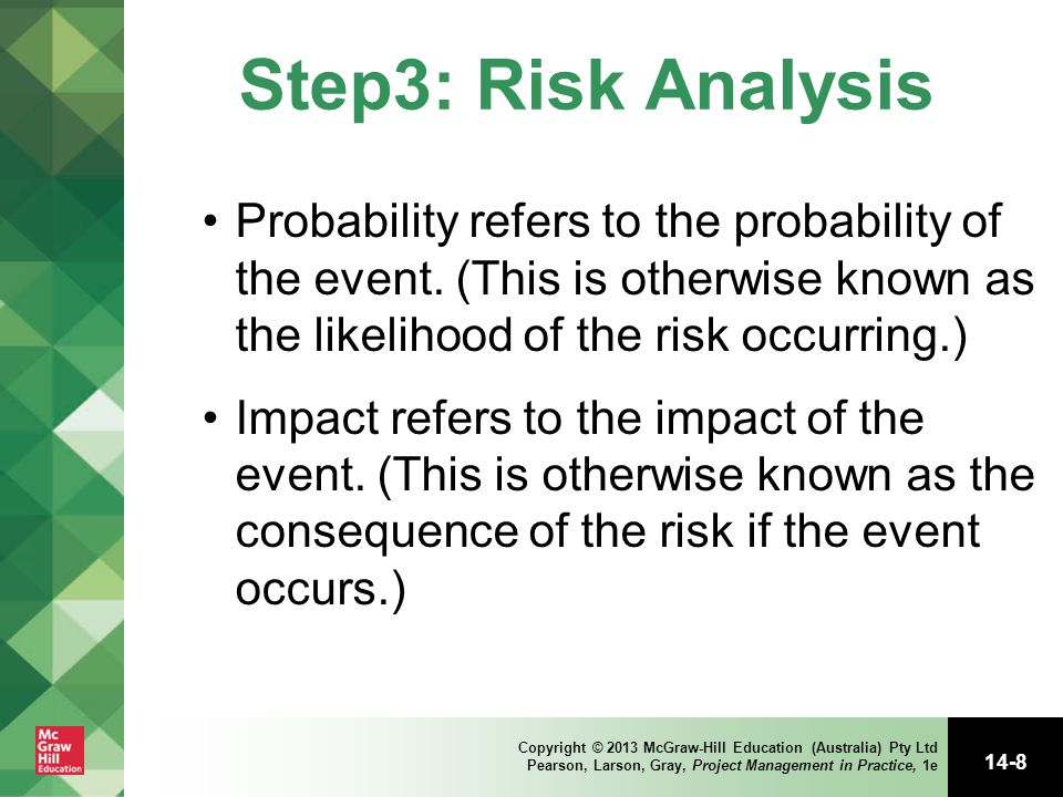 Step3: Risk Analysis Probability refers to the probability of the event. (This is otherwise known as the likelihood of the risk occurring.)