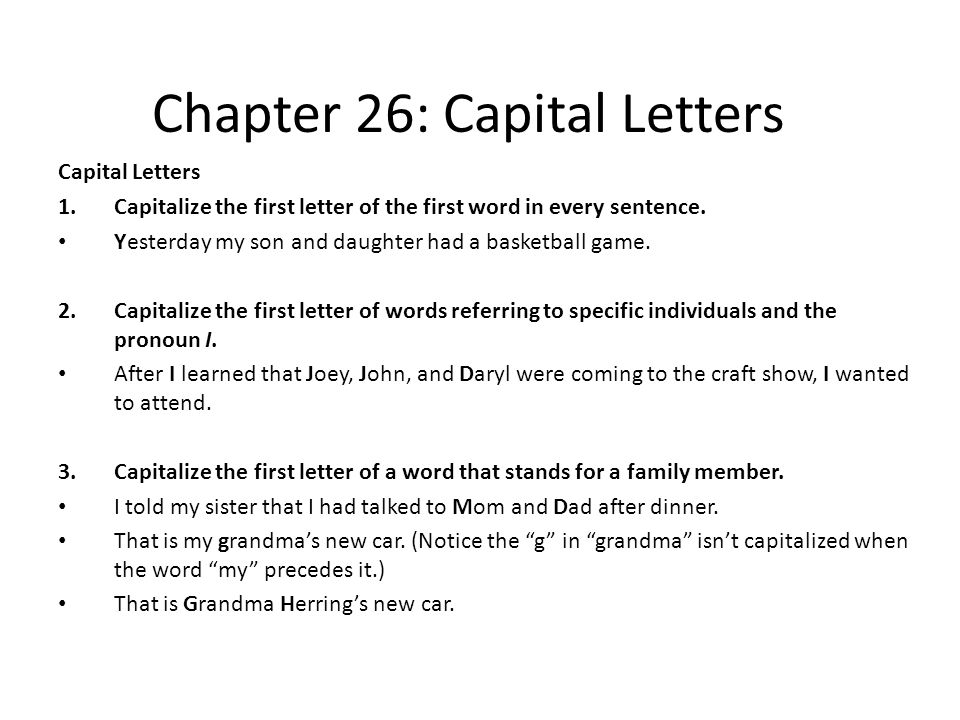 chapter 26  capital letters