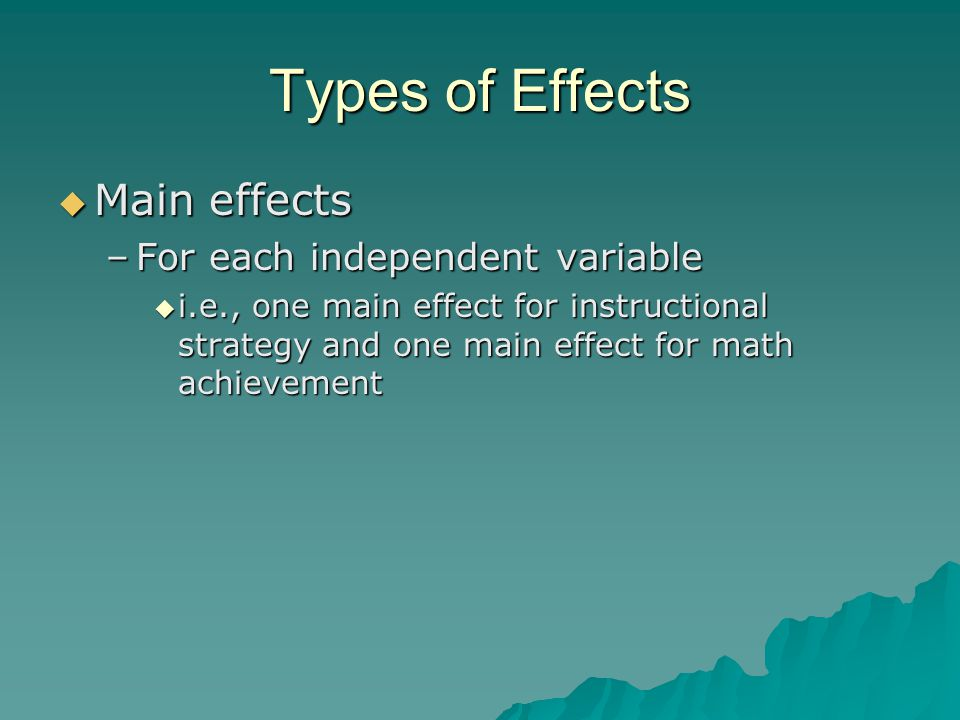 Types of Effects Main effects For each independent variable
