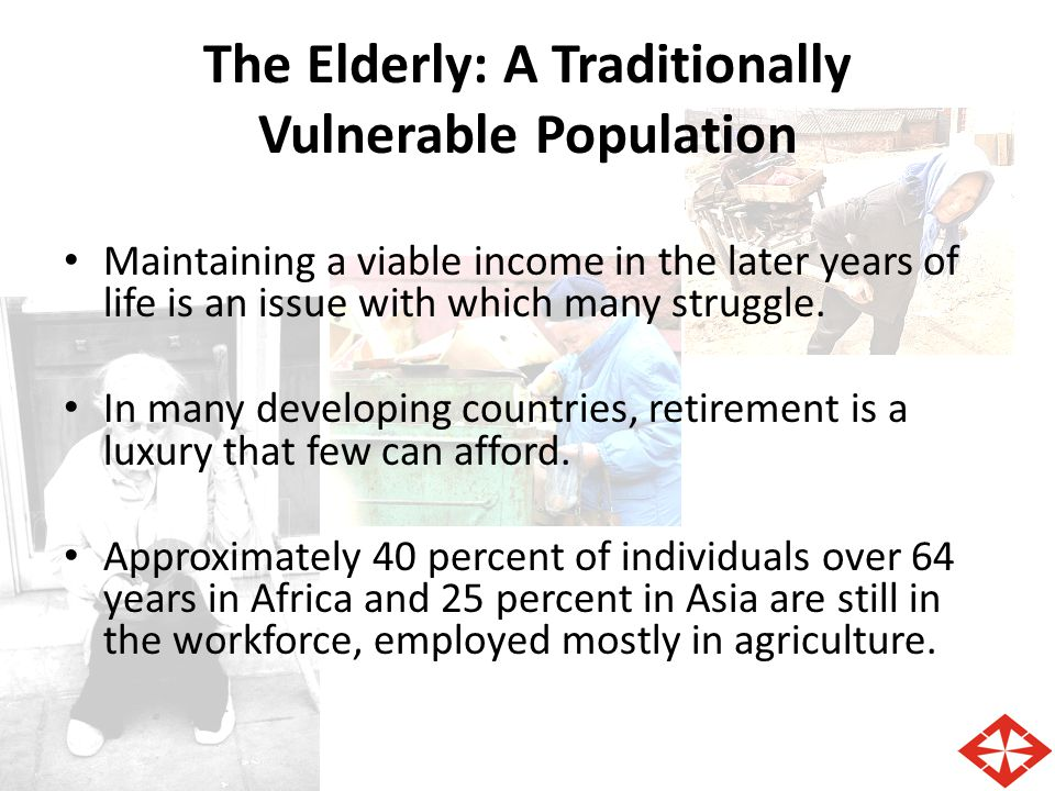the elderly a vulnerable population Vulnerable populations  articles cover the following vulnerable population subgroups: pregnant women and children, persons with aids, the disabled, and the elderly issues covered in this collection include: expendi tures, demographic factors, medicaid and medicare policy, service use, medical proce dures, and data.