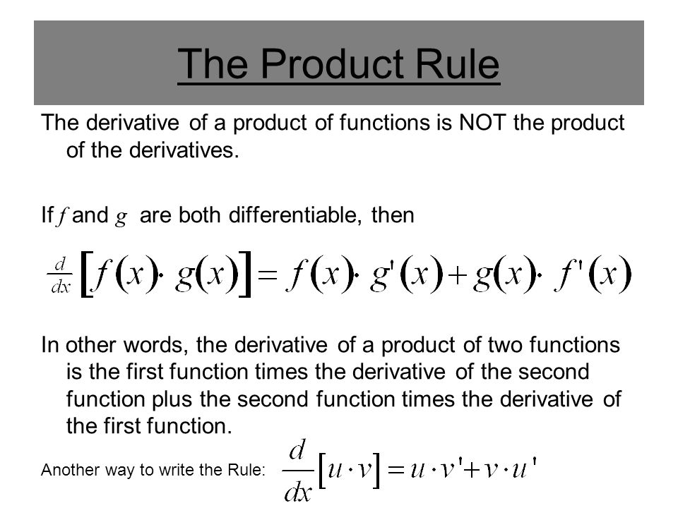 The Product Rule The derivative of a product of functions ...