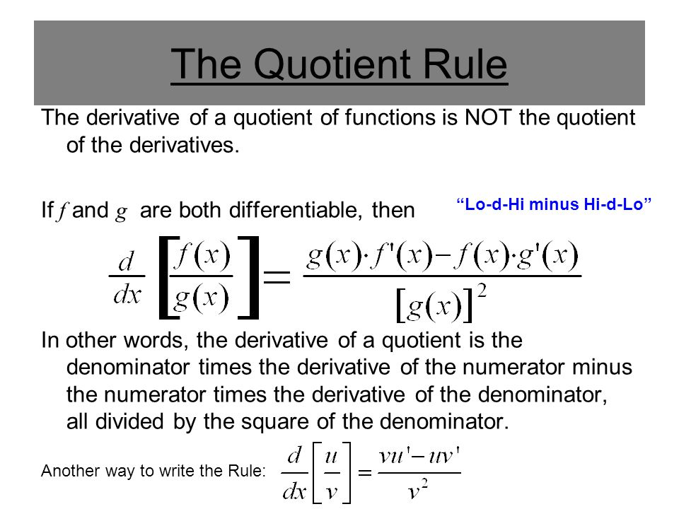 quotient rule derivative examples pdf