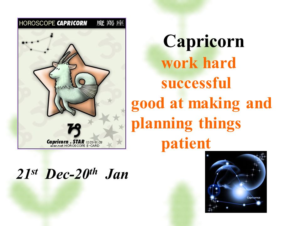 Capricorn work hard successful good at making and planning things