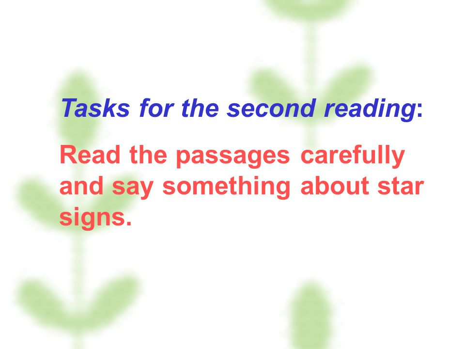 Tasks for the second reading: