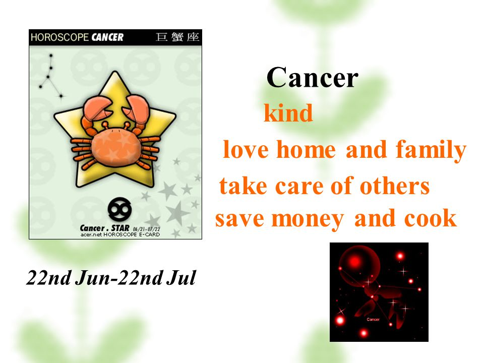 Cancer kind love home and family take care of others