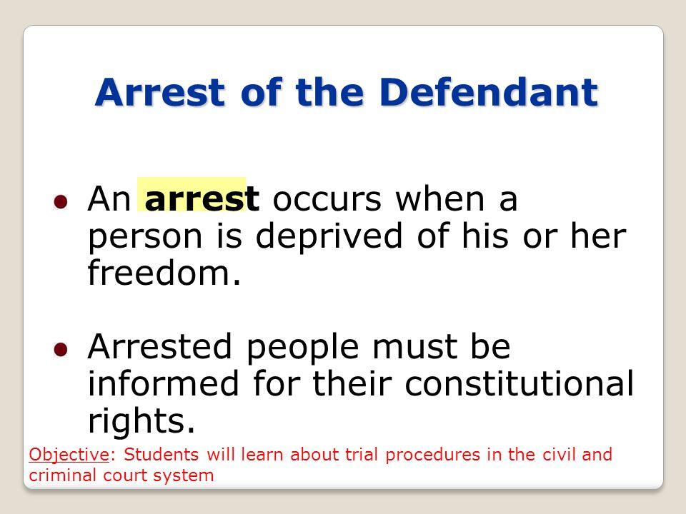Arrest of the Defendant