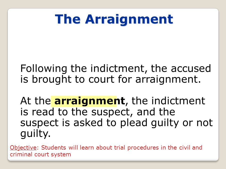 The Arraignment Following the indictment, the accused is brought to court for arraignment.