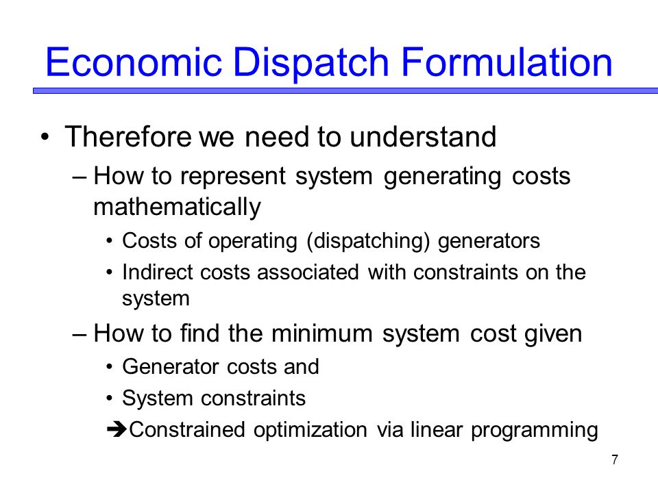 Economic Dispatch Formulation