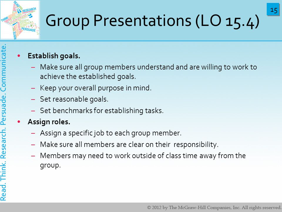 Group Presentations (LO 15.4)