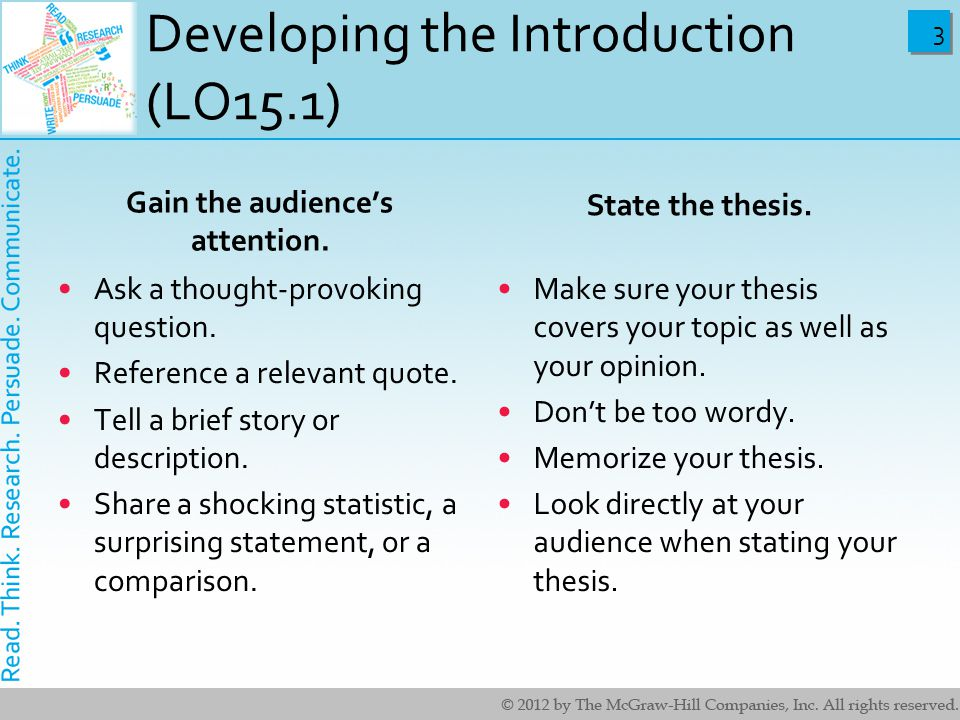 Developing the Introduction (LO15.1)