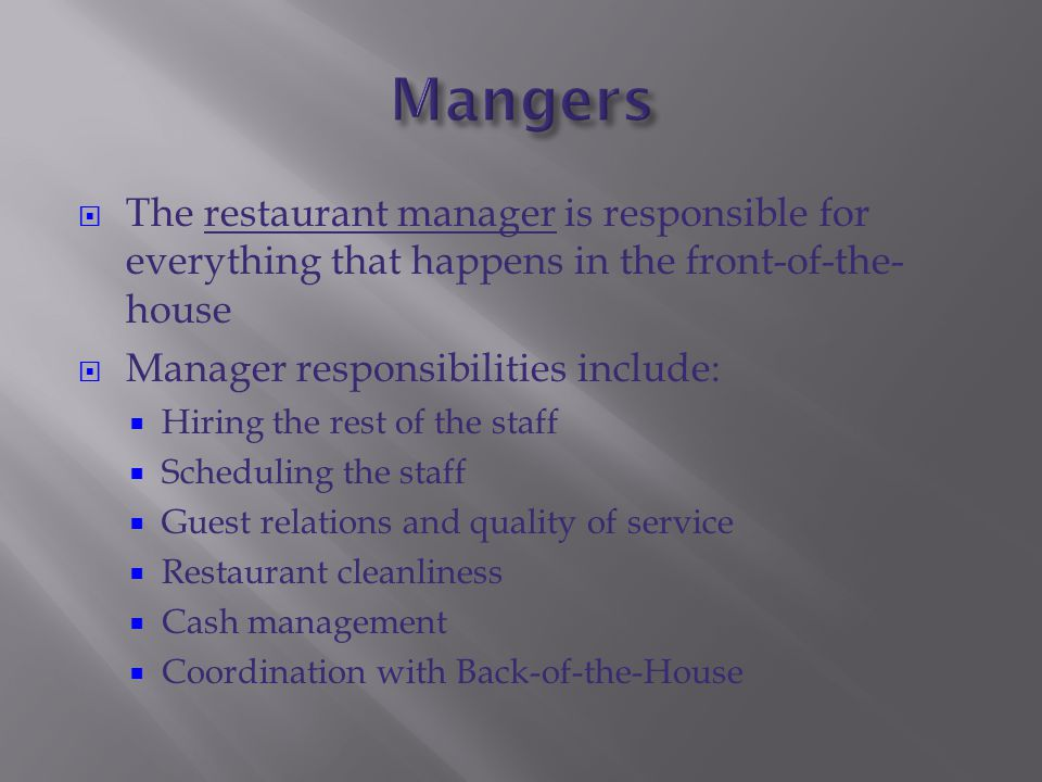 Front Of The house Staff - ppt download