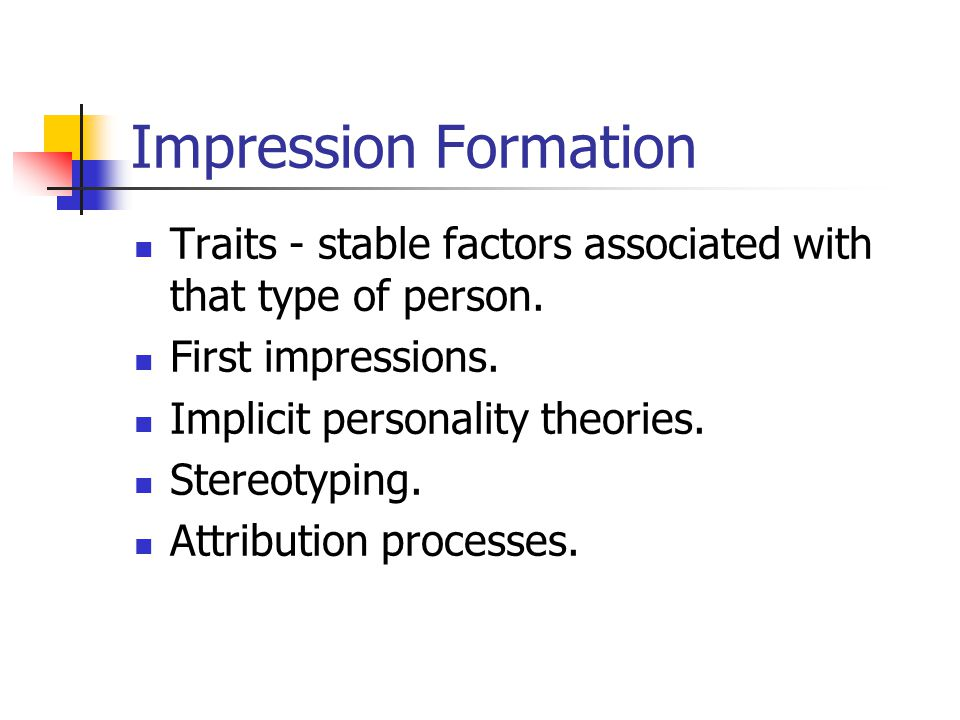 first impression formation Title: nonverbal cues-based first impressions: impression formation through exposure to static images created date: 20160807205950z.
