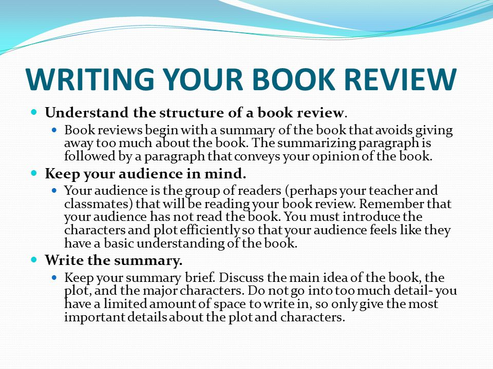 the structure of a book review