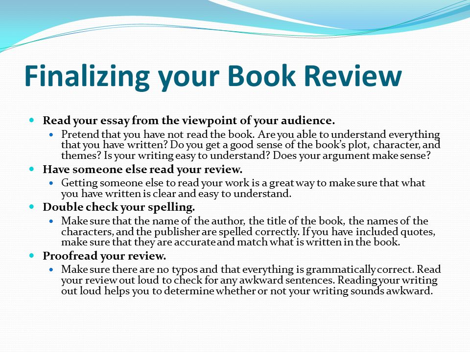 Writing A Good Book Review - PowerPoint PPT Presentation