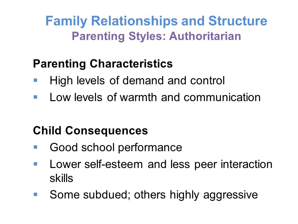 Family Relationships and Structure Parenting Styles: Authoritarian