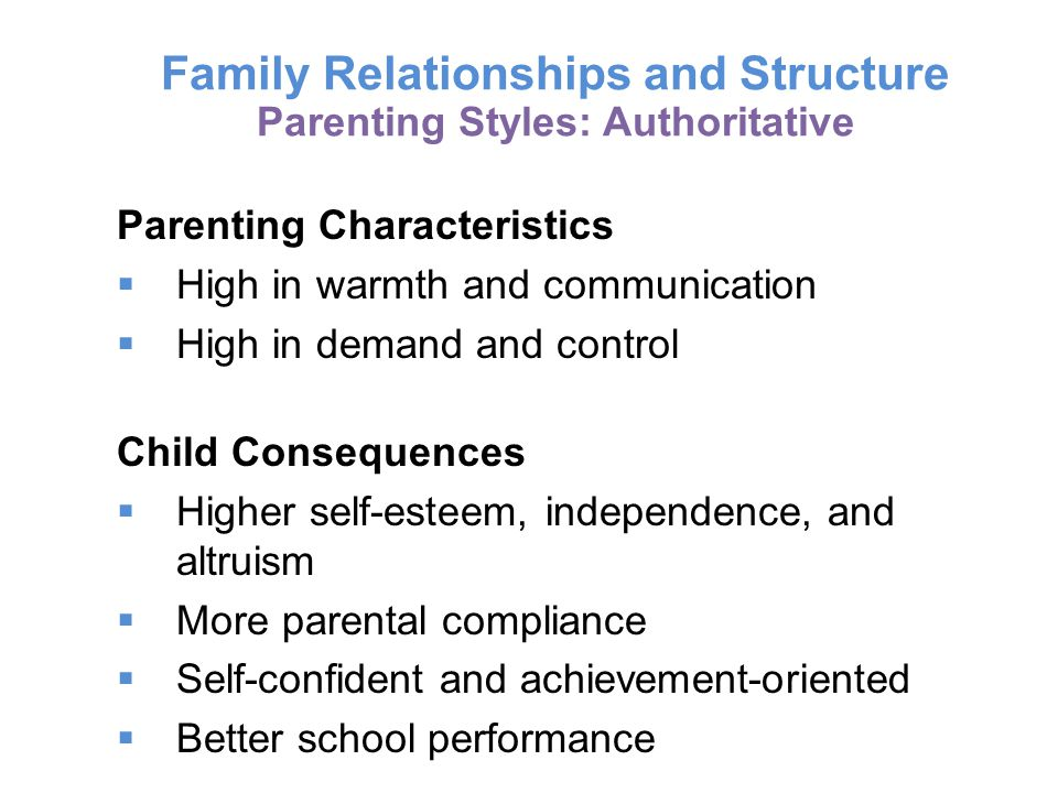 Family Relationships and Structure Parenting Styles: Authoritative