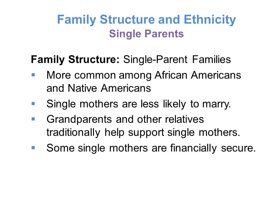 Family Structure and Ethnicity Single Parents