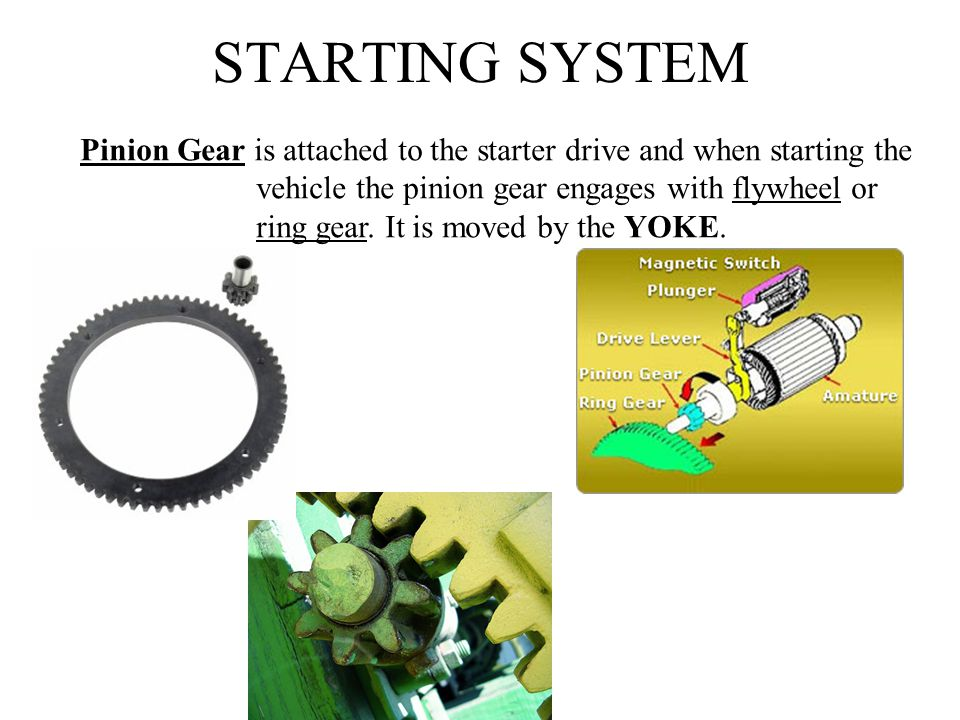 STARTING SYSTEM Pinion Gear is attached to the starter drive and when starting the. vehicle the pinion gear engages with flywheel or.