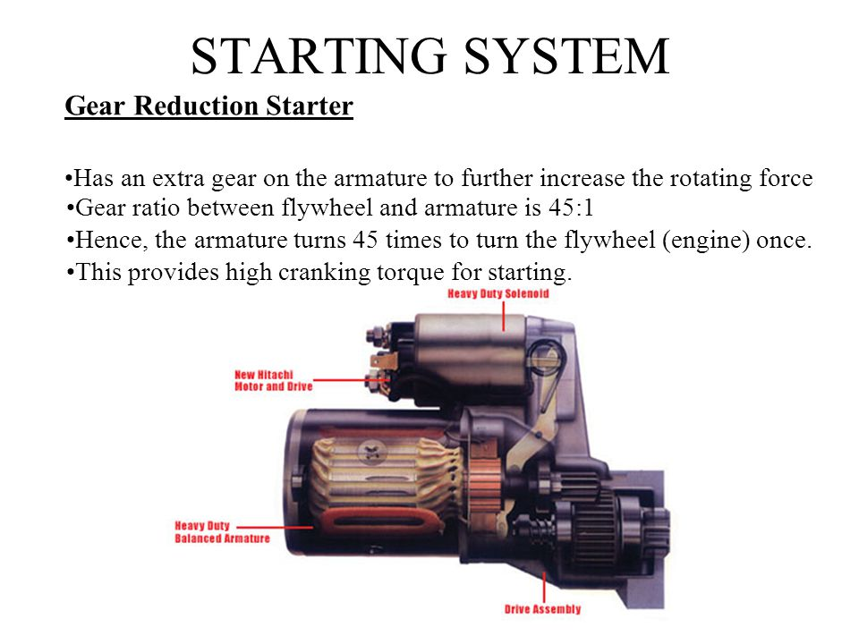 STARTING SYSTEM Gear Reduction Starter