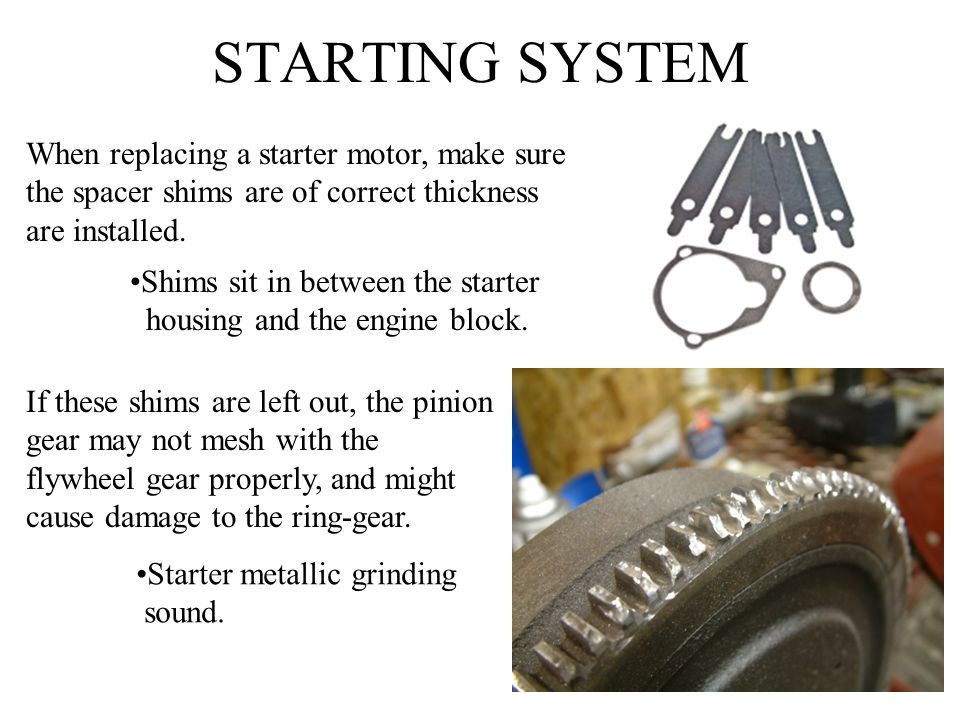 STARTING SYSTEM When replacing a starter motor, make sure