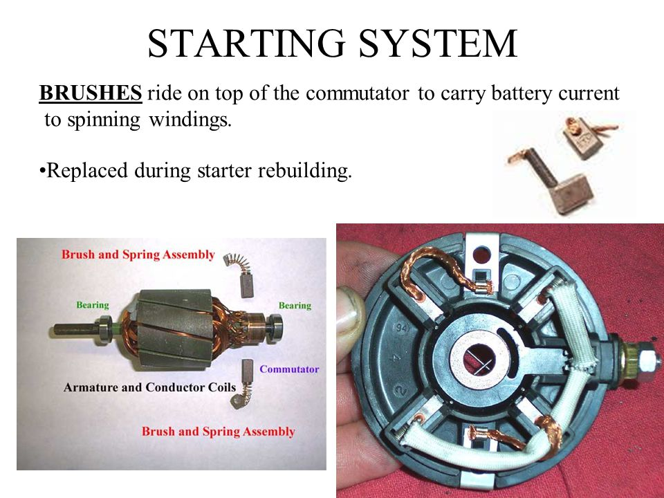 STARTING SYSTEM BRUSHES ride on top of the commutator to carry battery current. to spinning windings.
