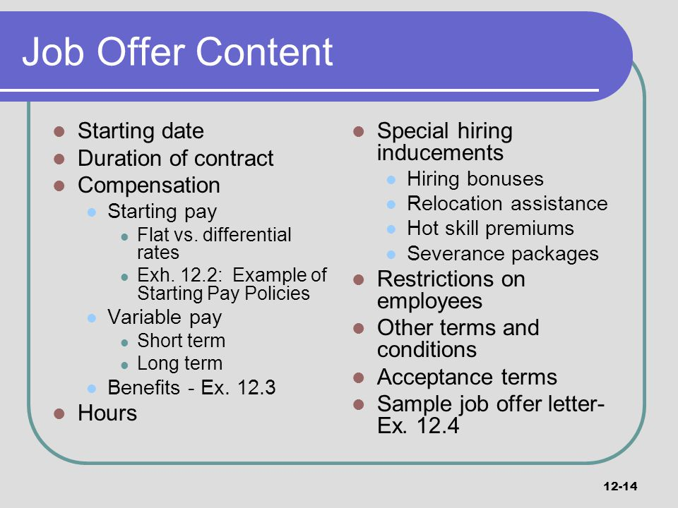 14 Job Offer Content Starting Date Duration Of Contract Compensation