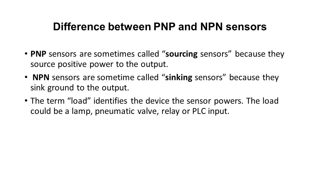 Difference between PNP and NPN sensors