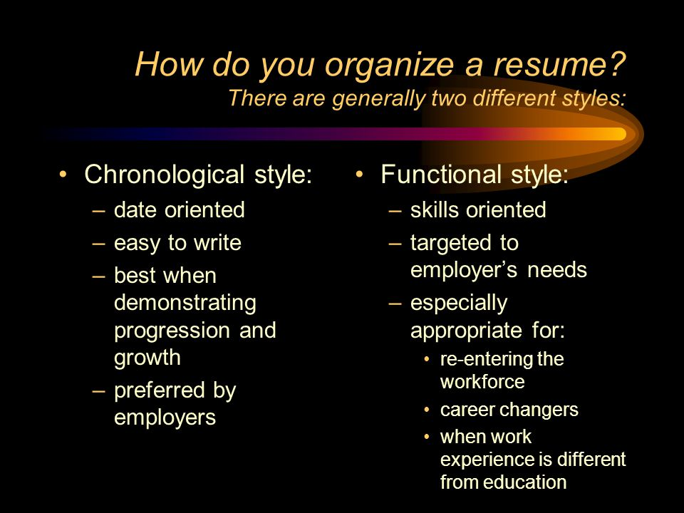 How do you organize a resume There are generally two different styles: