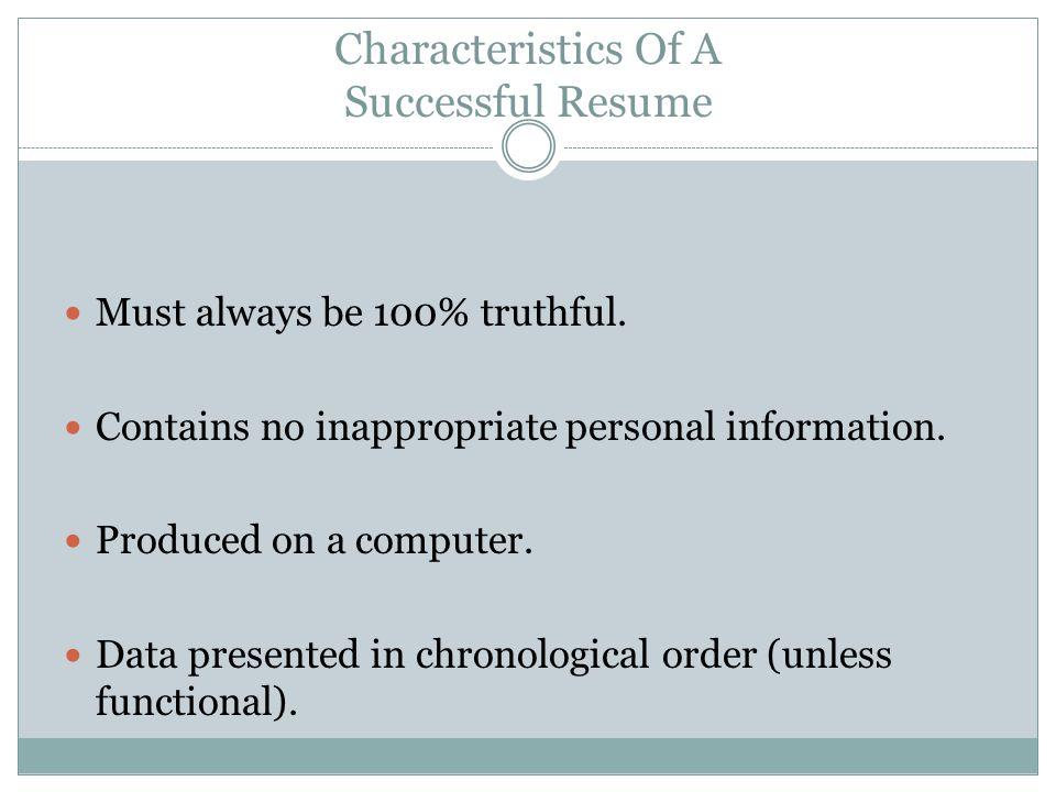 Characteristics Of A Successful Resume  Successful Resume