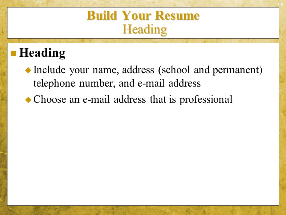 build your resume heading