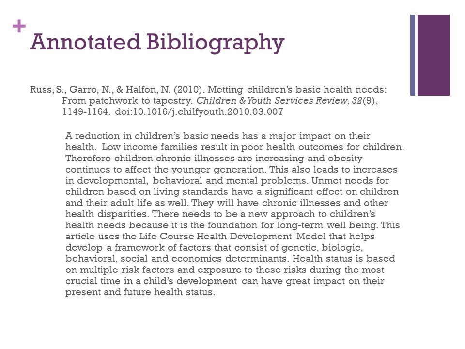 annotated bibliography for the purpose of early days obesity